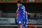 AFC Wimbledon defender Will Nightingale (5) with head in his hands during the EFL Trophy (Leasing.com) match between AFC Wimbledon and U23 Brighton and Hove Albion at the Cherry Red Records Stadium, Kingston, England on 3 September 2019.