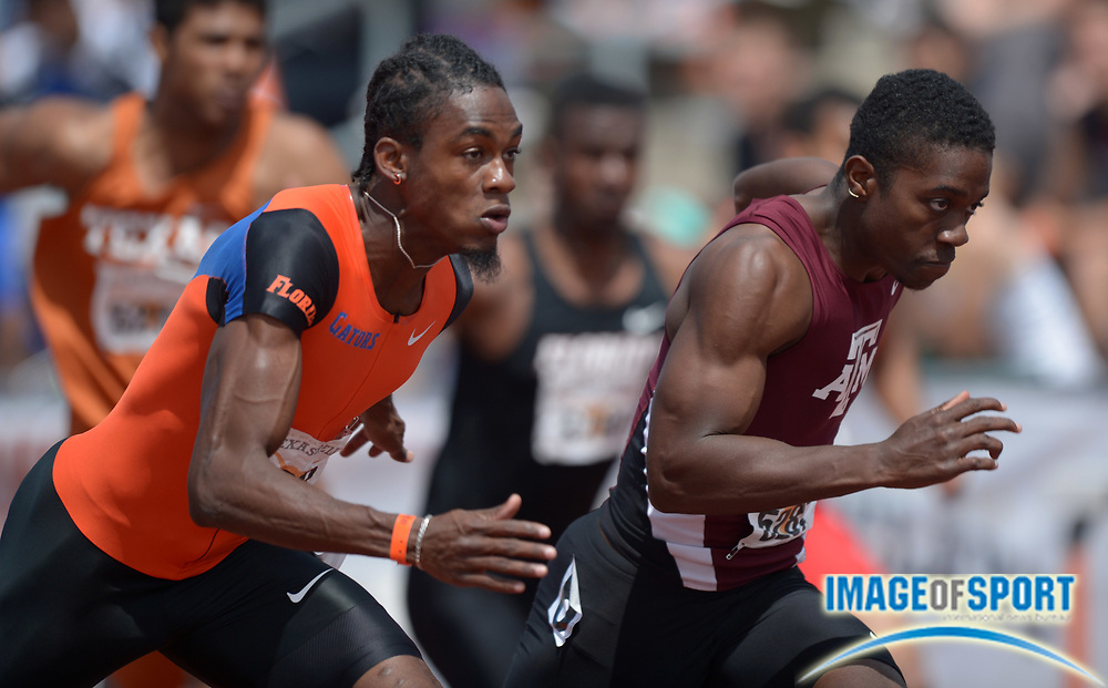 Mar 29, 2014; Austin, TX, USA; Wayne Davis II of Texas A&M (right) defeats Eddie Lovett of Florida to win the 110m hurdles, wind-aided 13.442 to 13.448, in the 87th Clyde Littlefield Texas Relays at Mike A. Myers Stadium.