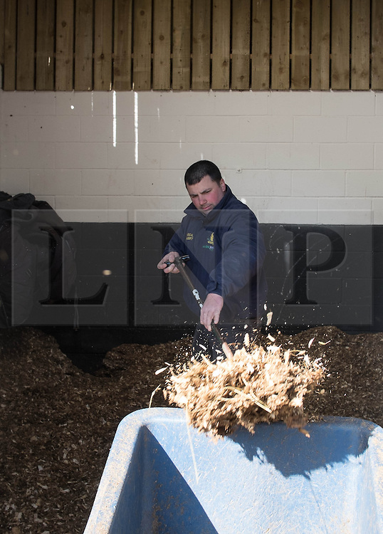 © Licensed to London News Pictures. 22/03/2014<br /> <br /> Middleham, North Yorkshire<br /> <br /> Race horse stalls are cleaned out whilst they are away exercising on the horse racing gallops in Middleham, North Yorkshire. Race horses have been trained in Middleham for over 200 years using the extensive gallops on the high moor. There are currently 15 stables based around the small Yorkshire village.<br /> <br /> Photo credit : Ian Forsyth/LNP