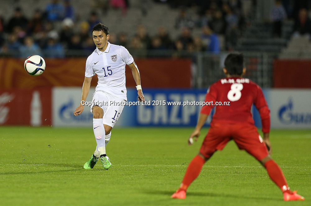 Marco Delgado of USA in the Group A FIFA U20 World Cup Match between USA and Myanmar at Northlands Event Centre, Whangarei, Northland, New Zealand, Saturday, May 30, 2015. Copyright photo: David Rowland / www.photosport.co.nz