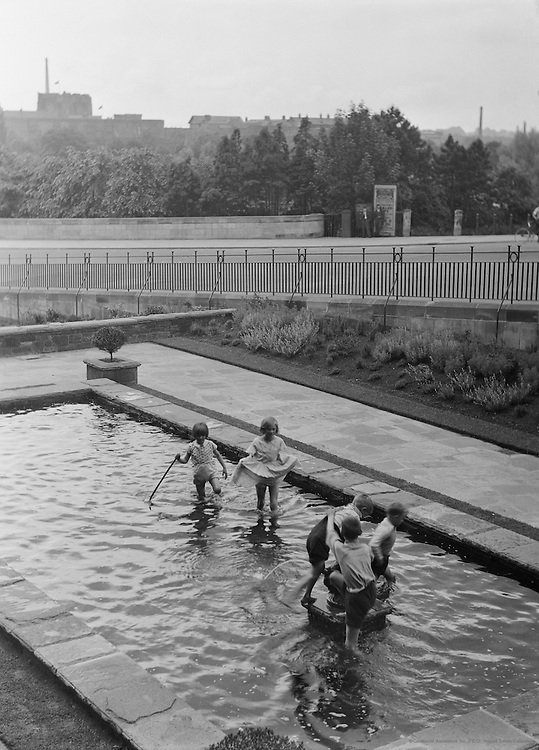 Children Playing in Pool, Carlisle, Cumbria, England, 1925