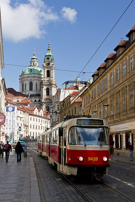 Tram and St. Nicholas Cathedral (Chram sv.Mikulase), Malá Strana. Different views from Prague (Praha), the capital of the Czech Republic.  o (Photo: Alan Aubry)