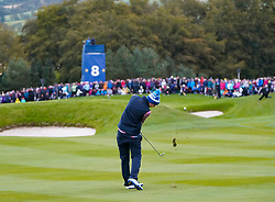 Auchterarder, Scotland, UK. 14 September 2019. Saturday afternoon Fourballs matches  at 2019 Solheim Cup on Centenary Course at Gleneagles. Pictured; Anne Van Dam of Team Europe plays approach shot to the 8th green. Iain Masterton/Alamy Live News