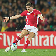 James Hook, Wales, scuffs his drop goal attempt during the Wales V France Semi Final match at the IRB Rugby World Cup tournament, Eden Park, Auckland, New Zealand, 15th October 2011. Photo Tim Clayton...