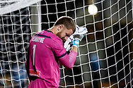 SYDNEY, AUSTRALIA - AUGUST 07: Sydney FC player Andrew Redmayne (1) wipes his face during the FFA Cup round of 32 football match between Sydney FC and Brisbane Roar FC on August 07, 2019 at Leichhardt Oval in Sydney, Australia. (Photo by Speed Media/Icon Sportswire)