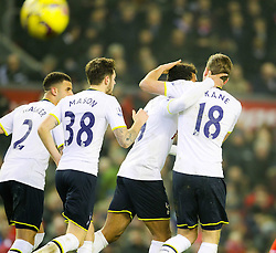 Tottenham Hotspur's Mousa Dembele celebrates after equalising for 2-2 - Photo mandatory by-line: Matt McNulty/JMP - Mobile: 07966 386802 - 10/02/2015 - SPORT - Football - Liverpool - Anfield - Liverpool v Tottenham Hotspur - Barclays Premier League