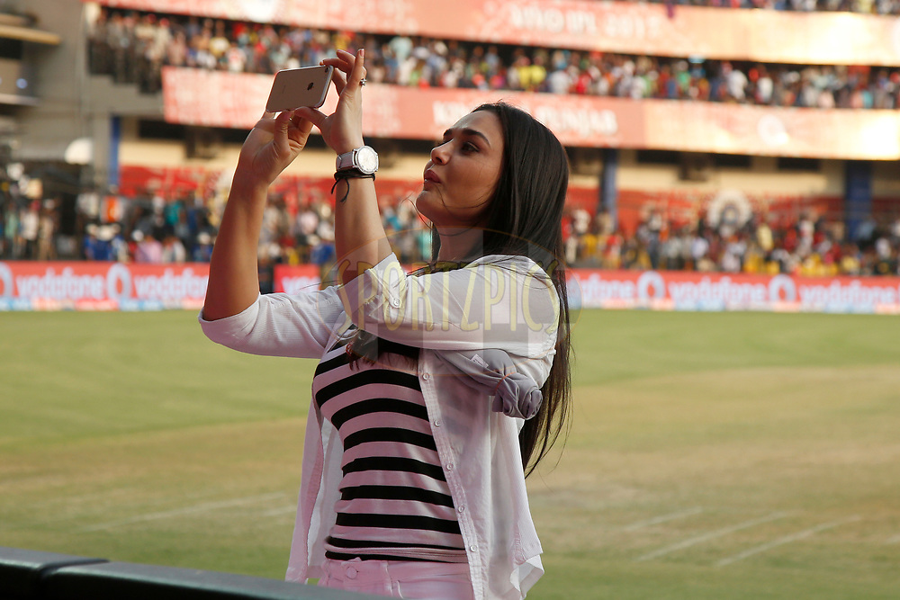 Preity Zinta Kings XI Punjab owner during match 4 of the Vivo 2017 Indian Premier League between the Kings X1 Punjab and the rising Pune Supergiant held at the Holkar Cricket Stadium in Indore, India on the 8th April 2017<br /> <br /> Photo by Deepak Malik - IPL - Sportzpics