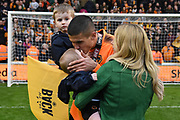 Wolverhampton Wanderers midfielder Conor Coady (16) celebrates the title with his family during the EFL Sky Bet Championship match between Wolverhampton Wanderers and Sheffield Wednesday at Molineux, Wolverhampton, England on 29 April 2018. Picture by Alan Franklin.