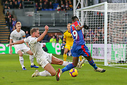 Crystal Palace defender Aaron Wan Bissaka (29) tries for the goal tackled by Burnley defender Charlie Taylor (3)  during the Premier League match between Crystal Palace and Burnley at Selhurst Park, London, England on 1 December 2018.