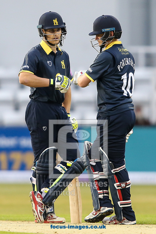 William Porterfield of Warwickshire CCC (right) and Sam Hain of Warwickshire CCC (left) during the Royal London One Day Cup match at the County Ground, Northampton<br /> <br /> Picture by Andy Kearns/Focus Images Ltd 0781 864 4264<br /> 27/04/2017