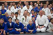 Group photo including Royce Gracie and Ivan Kravtiz during a jiu-jitsu lesson at US Blackbelt Academy on Thursday, March 26, 2015 in Laguna Niguel, Calif. (Photo/Josh Barber)