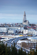 The capital city of Reykjavik and Lutheran church Hallgrímskirkja Cathedral, Iceland