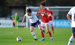 Carla Humphrey of Bristol City applies pressure on Lucy Quinn of Tottenham Hotspur Women- Mandatory by-line: Nizaam Jones/JMP - 27/10/2019 - FOOTBALL - Stoke Gifford Stadium - Bristol, England - Bristol City Women v Tottenham Hotspur Women - Barclays FA Women's Super League