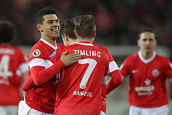 26.02.2013, Coface Arena, Mainz, GER, 1. FBL, 1. FSV Mainz 05 vs SC Freiburg, DFB Cup, Viertelfinale, im Bild Shawn PARKER (FSV Mainz 05 - 31) und Niki ZIMLING (FSV Mainz 05 - 7) die beiden Torschuetzen bejubeln das 2-0 // during the German Bundesliga DFB Cup quarterfinals match between 1. FSV Mainz 05 and SC Freiburg at the Coface Arena, Mainz, Germany on 2013/02/26. EXPA Pictures © 2013, PhotoCredit: EXPA/ Eibner/ Gerry Schmit..***** ATTENTION - OUT OF GER *****