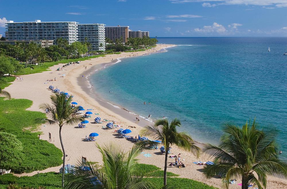 Kaanapali Beach and resort hotels on the island of Maui, Hawaii..