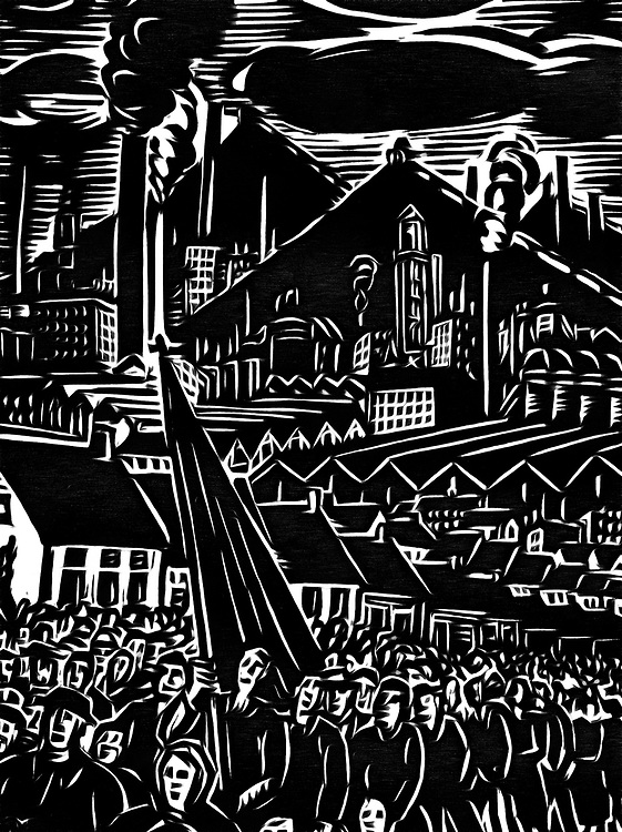 A black / white drawing of a procession with the mine slag heaps in background