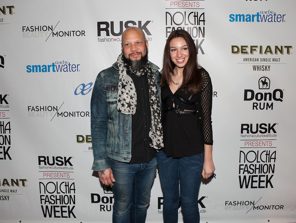 Frank Ferrer, drummer for Guns N' Roses and friend attend Nolcha Fashion Week New York Fall-Winter 2014. Nolcha Fashion Week New York is a leading award winning event, held during New York Fashion Week, for independent fashion designers to showcase their collections to a global audience of press, retailers, stylists and industry influencers. Over the past six years Nolcha Fashion Week: New York has established itself as a platform of discovery promoting innovative fashion designers through runway shows and exhibition. Nolcha Fashion Week: New York has built an acclaimed reputation as a hot incubator of new fashion design talent and is officially listed by New York City Economic Development Corporation; offering a range of cost effective options to increase designers recognition and develop their business. (Photo: www.JeffreyHolmes.com)