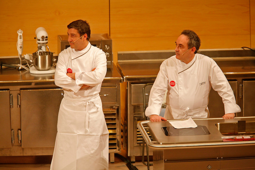 The best Catalan cooks of the guide Michelin. Chefs Ferran Adria (right) of restaurant El Bulli and Joan Roca of restaurant El Celler de Can Roca, in a gastronomical exhibition.