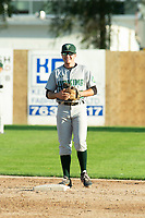 KELOWNA, BC - JULY 24: Tanner Parker #22 of the Yakima Valley Pippins stands at second base against the the Kelowna Falcons  at Elks Stadium on July 24, 2019 in Kelowna, Canada. (Photo by Marissa Baecker/Shoot the Breeze)