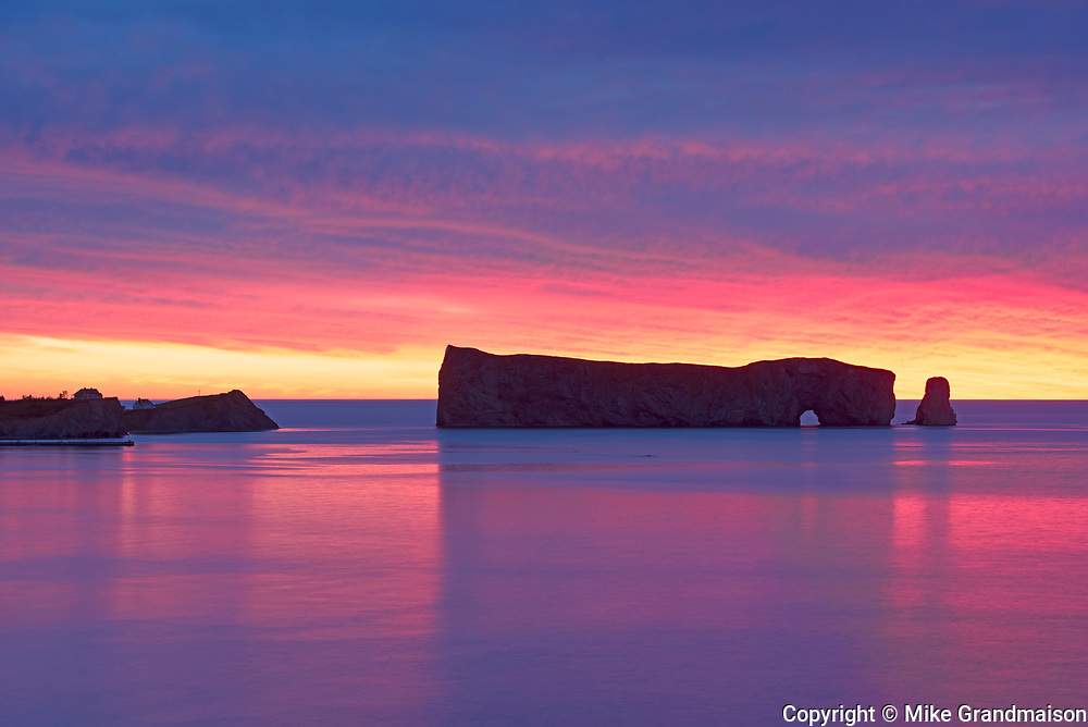 Le Rocher Percé or Percé Rock in the Atlantic Ocean at sawn<br />Percé<br />Quebec<br />Canada