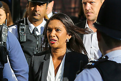 © Licensed to London News Pictures. 19/09/2019. London, UK. Businesswoman and political activist GINA MILLER arrive at UK Supreme Court in London on the final day of the three day appeal hearing in the multiple legal challenges against the Prime Minister Boris Johnson's decision to prorogue Parliament ahead of a Queen's speech on 14 October. Since Tuesday 17 September, eleven instead of the usual nine Supreme Court justices have been hearing the politically charged claim that Boris Johnson acted unlawfully in advising the Queen to suspend parliament for five weeks in order to stifle debate over the Brexit crisis.It is the first time the Supreme Court has been summoned for an emergency hearing outside legal term time.Lady Hale, the first female president of the court who retires next January, has been preside the Brexit-related judicial review cases. Photo credit: Dinendra Haria/LNP
