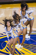 Golden State Warriors cheerleaders perform during a timeout against the LA Clippers at Oracle Arena in Oakland, Calif., on February 23, 2017. (Stan Olszewski/Special to S.F. Examiner)