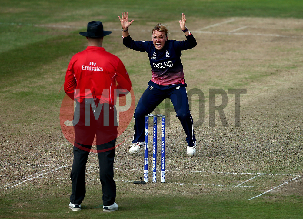 Danielle Hazell of England Women appeals for LBW against of Alyssa Healy of Australia Women - Mandatory by-line: Robbie Stephenson/JMP - 09/07/2017 - CRICKET - Bristol County Ground - Bristol, United Kingdom - England v Australia - ICC Women's World Cup match 19