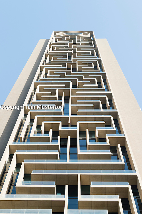 Detail of abstract modern architecture on new skyscraper on Sheikh Zayed Road in Dubai UAE United Arab Emirates