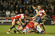 G Denman turned over during the Aviva Premiership match between Sale Sharks and Gloucester Rugby at the AJ Bell Stadium, Eccles, United Kingdom on 29 September 2017. Photo by George Franks.