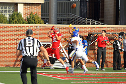 29 October 2016:  Anthony Warrum Looks back over his shoulder looking for the ball on a pass from Jake Kolbe as he crosses the goal line. NCAA FCS Football game between South Dakota State Jackrabbits and Illinois State Redbirds at Hancock Stadium in Normal IL (Photo by Alan Look)