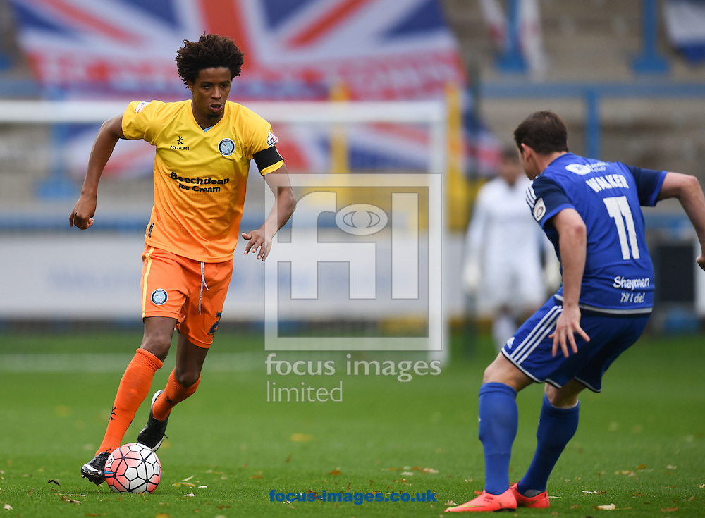 Sam Walker of FC Halifax and Sido Jambati of Wycombe Wanderers during the FA Cup match at Shay Stadium, Halifax<br /> Picture by Richard Land/Focus Images Ltd +44 7713 507003<br /> 08/11/2015