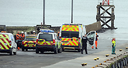 Incident, South Queensferry, 28-4-2016<br /> <br /> 2 Ambulances, Medic 1, Coastguard, Police rushed to the the pier below the Forth Rail Bridge following an incident after the SNP press call had finished. No SNP officials involved.<br /> <br /> (c) David Wardle | Edinburgh Elite media