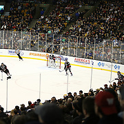 A general view of the Northeastern defensive zone during The Beanpot Championship Game at TD Garden on February 10, 2014 in Boston, Massachusetts. (Photo by Elan Kawesch)