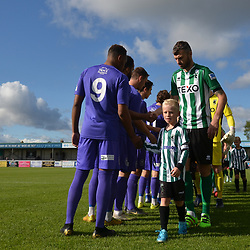 TELFORD COPYRIGHT MIKE SHERIDAN The two teams shake hands before kick off during the National League North fixture between Blyth Spartans and AFC Telford United at Croft Park on Saturday, September 28, 2019<br /> <br /> Picture credit: Mike Sheridan<br /> <br /> MS201920-023