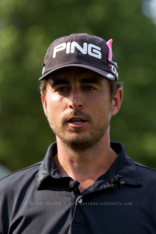 Scott Harrington speaks to the media after losing to Chris Wilson in a playoff during the final round of the 2012 Price Cutter Charity Championship at Highland Springs Country Club on August 12, 2012 in Springfield, Missouri. (David Welker/www.TurfImages.com).