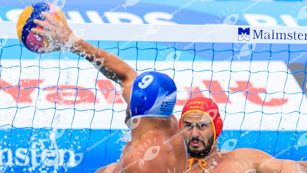 Konstantinos Mourikis of Greece and Dejan Lazovic of Montenegro<br /> Montenegro (white cap) -  Greece (blue cap)<br /> Quarterfinal  Round Water Polo Man<br /> Day12  25/07/2017 <br /> XVII FINA World Championships Aquatics<br /> Alfred Hajos Complex Margaret Island  <br /> Budapest Hungary <br /> Photo @Deepbluemedia/Insidefoto Photo @Marcelterbals/Deepbluemedia/Insidefoto