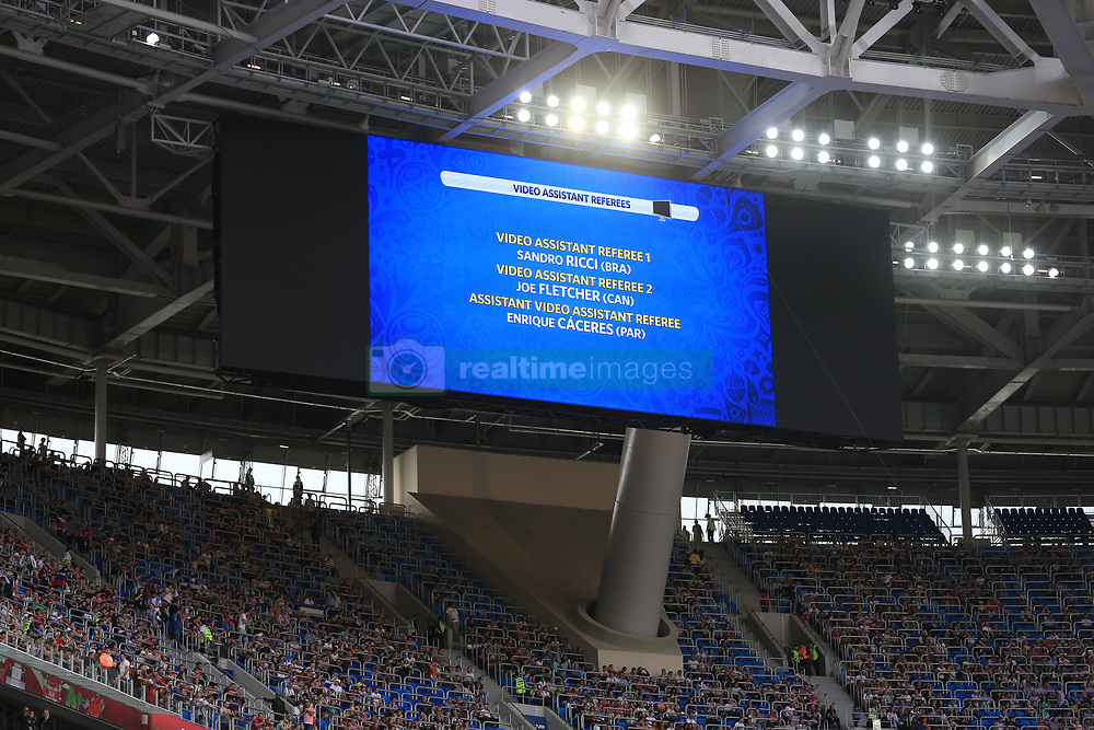 17th June 2017 - FIFA Confederations Cup (Group A) - Russia v New Zealand - The big screen displays the names of the Video Assistant Referees, as well as the Assistant Video Assistant Referee - Photo: Simon Stacpoole / Offside.
