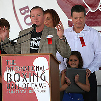 Boxer Micky Ward speaks about his friend Arturo Gatti, who was inducted into the Hall of Fame during the 2013 International Boxing Hall of Fame induction ceremony  on Sunday, June 9, 2013 in Canastota, New York.  (AP Photo/Alex Menendez)