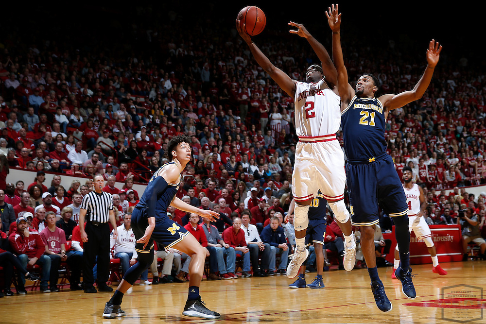 Indiana guard Josh Newkirk (2) in action as Michigan played Indiana in an NCCA college basketball game in Bloomington, Ind., Sunday, Feb. 12, 2017. (AJ Mast)
