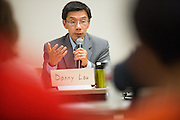Danny Lau talks about overcrowding at Milpitas High School during the Milpitas Unified School District Board of Education forum at the Barbara Lee Senior Center in Milpitas, California, on October 2, 2014. (Stan Olszewski/SOSKIphoto)