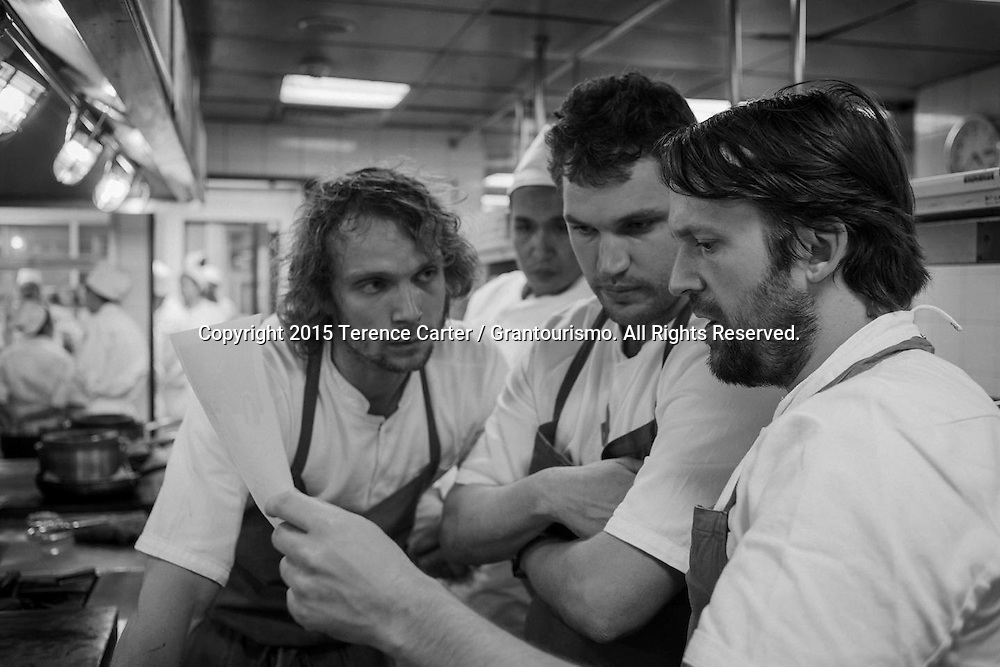 The Grand Gelinaz! Shuffle on July 9th 2015 Noma at Nahm, Bangkok<br /> <br /> Ren&eacute; Redzepi of Noma in Copenhagen (right) arrives and starts going through the menu with his sous chefs. It's a tense couple of hours for the chefs as there's no going back on the dishes they've spent days preparing. Copyright 2015 Terence Carter / Grantourismo. All Rights Reserved.