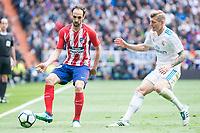 Real Madrid Toni Kroos and Atletico de Madrid Juanfran Torres during La Liga match between Real Madrid and Atletico de Madrid at Santiago Bernabeu Stadium in Madrid, Spain. April 08, 2018. (ALTERPHOTOS/Borja B.Hojas)