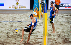 06-01-2019 NED: Dela Beach Open, Den Haag<br /> Netherlands lost the bronze medal from Russia 1-2 /  Alexander Brouwer #1 is furious on the referee after the stolen ball of Ilya Leshukov #1 and shoot the ball  against the ceiling. Robert Meeuwsen #2 looks on