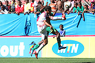 CAPE TOWN, SOUTH AFRICA - 28 MARCH 2010, Nazeer Allie of Ajax Cape Town and Njabulo Manqana of Golden Arrows challenge for the ball during the Telkom Knock Out match between Ajax Cape Town and Golden Arrows held at Newlands Stadium in Cape Town, South Africa..Photo by: Shaun Roy/Sportzpics