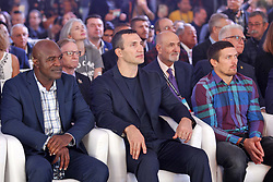 October 1, 2018 - Kiev, Ukraine - (L-R) Ex boxing champion of the World Evander Holyfield,Ukrainian heavyweight boxing champion Vladimir Klitschko and Ukrainian boxer Oleksandr Usyk attend an official opening of the 56th WBC ( World Boxing Council ) Convention in Kiev, Ukraine, 01 October, 2018. The 56th WBC Convention takes place in Kiev from September 30 to October 05. The event participate of boxing legends Lennox Lewis, Evander Holyfield, Eric Morales, Alexander Usik, Vitali Klitschko and about 700 congress participants from 160 countries. (Credit Image: © Str/NurPhoto/ZUMA Press)