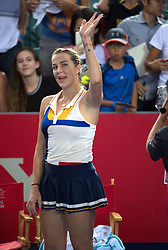 October 14, 2017 - Hong Kong, Hong Kong SAR, China - Anastasia Pavlyuchenkova reacts to her win.Russia's Anastasia Pavlyuchenkova moves into the finals following a win over China's Wang Qiang during their women's singles semi-final match at the Hong Kong Open tennis tournament on October 14, 2017. (Credit Image: © Jayne Russell via ZUMA Wire)
