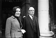Candidates Nominated for Presidency. Mr. T.F. O'Higgins T.D., Fine Gael, who was nominated for the presidency, with his wife at the Custom House, Dublin..10.05.1966