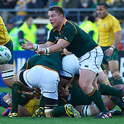 John Smit, South Africa, in action during the South Africa V Australia Quarter Final match at the IRB Rugby World Cup tournament. Wellington Regional Stadium, Wellington, New Zealand, 9th October 2011. Photo Tim Clayton...
