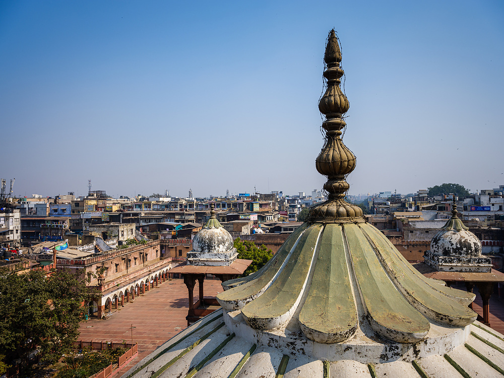 NEW DELHI, INDIA - CIRCA NOVEMBER 2018: View of Delhi as seen from the rooftop of the Gadodia Spice Market in Old Delhi. This market is full of stores and it is one the largest spice markets in Asia. It is located to the south of the famous Khari Baoli Street.