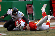 Kansas City Chiefs safety Bernard Pollard (49) recovers a first half blocked punt in the end zone, as Jacksonville punter Chris Hanson (2) tries for the recovery at Arrowhead Stadium in Kansas City, Missouri, December 31, 2006.  The Chiefs lead the Jaguars 21-10 at halftime.<br />